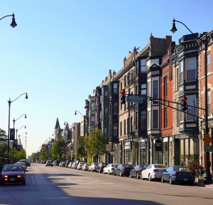 The Armitage-Halsted Historic District in the Lincoln Park neighborhood holds on to 1890s Queen Anne ornamentation on upper levels but allows first floor retail spaces to be altered somewhat to accommodate a vibrant boutique retail district.  Image courtesy of flickr user wjcordier.