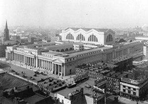 Penn Station in 1911 at 7th Avenue and 33rd Street in New York City. For more great historic pictures and a detailed history of the building visit http://keithyorkcity.wordpress.com/2012/10/07/penn-station-the-greatest-architectural-loss-in-new-yorks-history/.