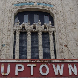 A close-up of the Uptown Theatre's terra cotta-clad grand entrance.   Photo courtesy of flickr user Anne Rossley.