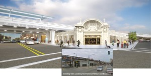 A rendering of what the station reconstruction will look like with a current view of the station inset.  Image source: http://www.transitchicago.com/wilson/