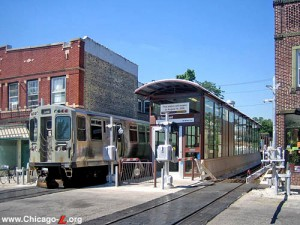 The Rockwell Brown Line stop is one of the few ground-level stops in the city.  source