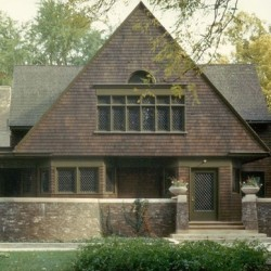 The Frank Lloyd Wright Home and Studio is a good example of a cross-gable plan with a prominent front-facing gable.